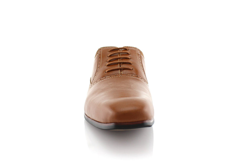 Brown Men's Dress Shoes Oxford Formal Lace Up Front View