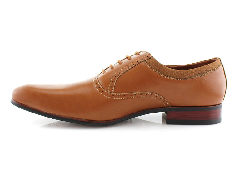 Brown Men's Dress Shoes Oxford Formal Lace Up Side View