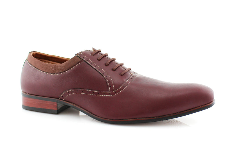 Burgundy Men's Dress Shoes Oxford Formal Lace Up Side View