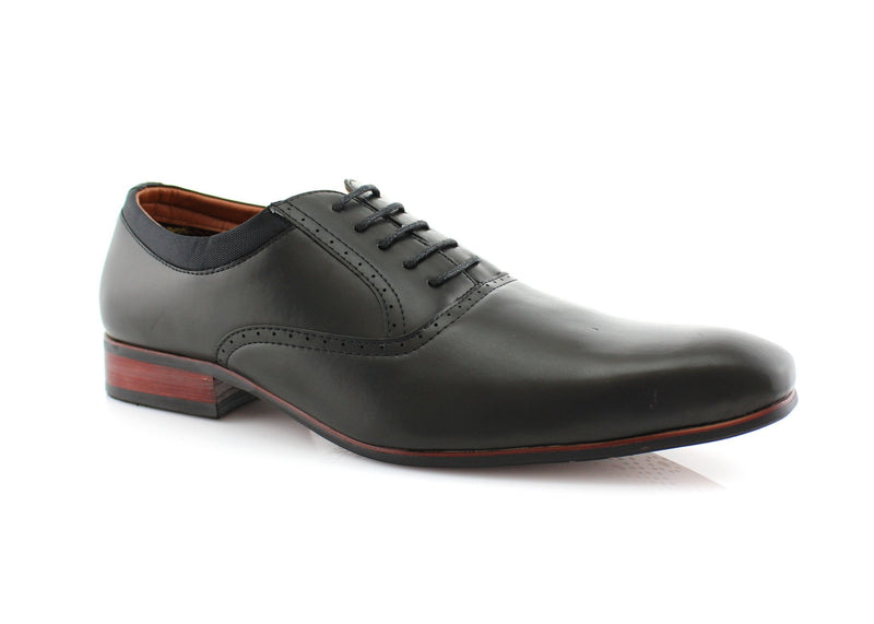 Black Men's Dress Shoes Oxford Formal Lace Up Side View