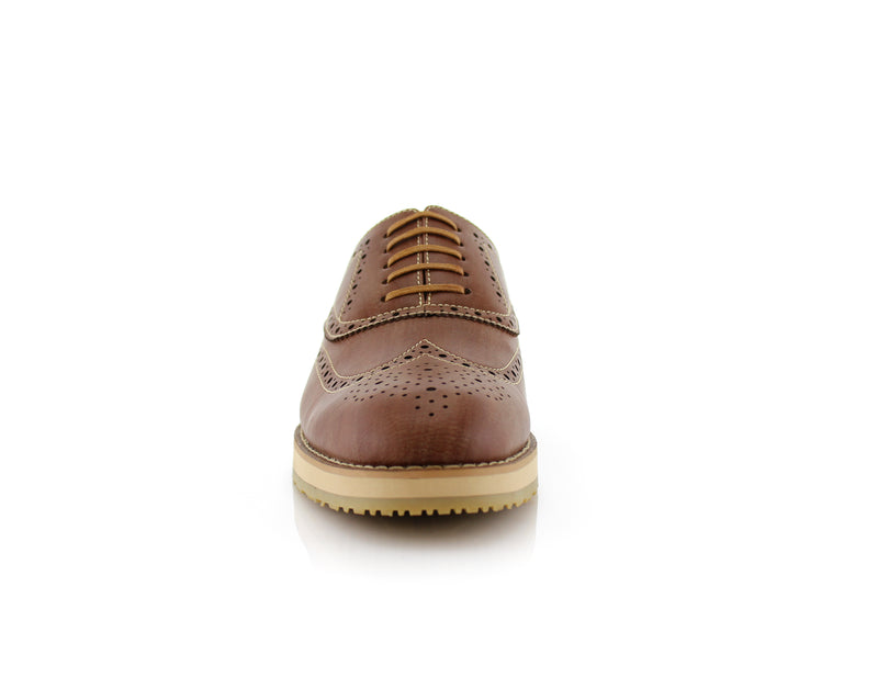 Brown Fashion Wingtip Brogues Oxford Sneaker Roger Front View