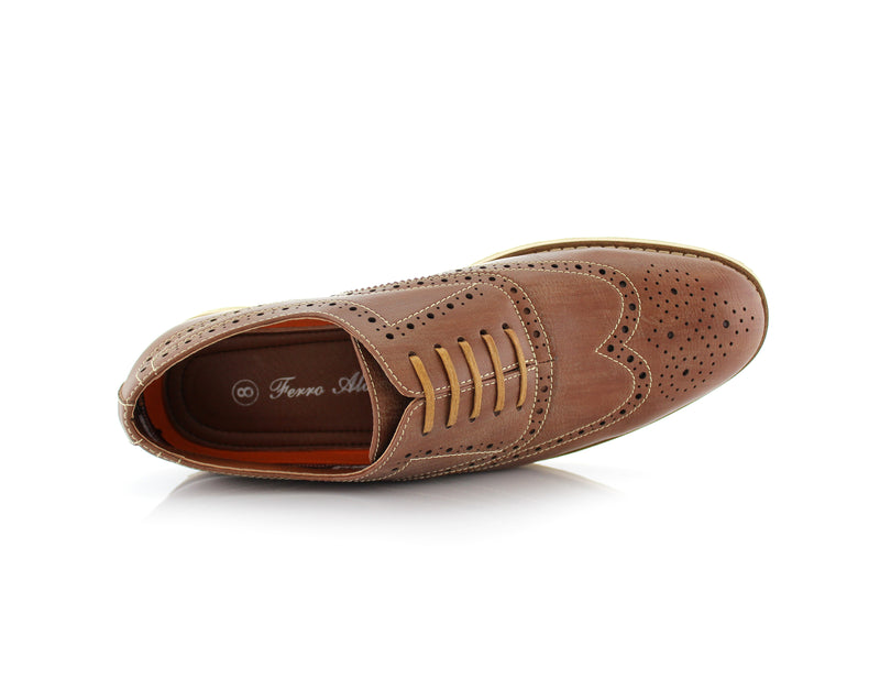 Brown Fashion Wingtip Brogues Oxford Sneaker Roger Top View