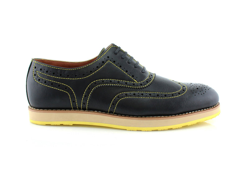 Neon/Black Sole Fashion Wingtip Brogues Oxford Sneaker Roger Side View