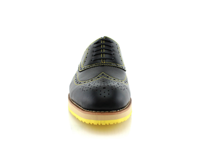 Neon/Black Sole Fashion Wingtip Brogues Oxford Sneaker Roger Front View