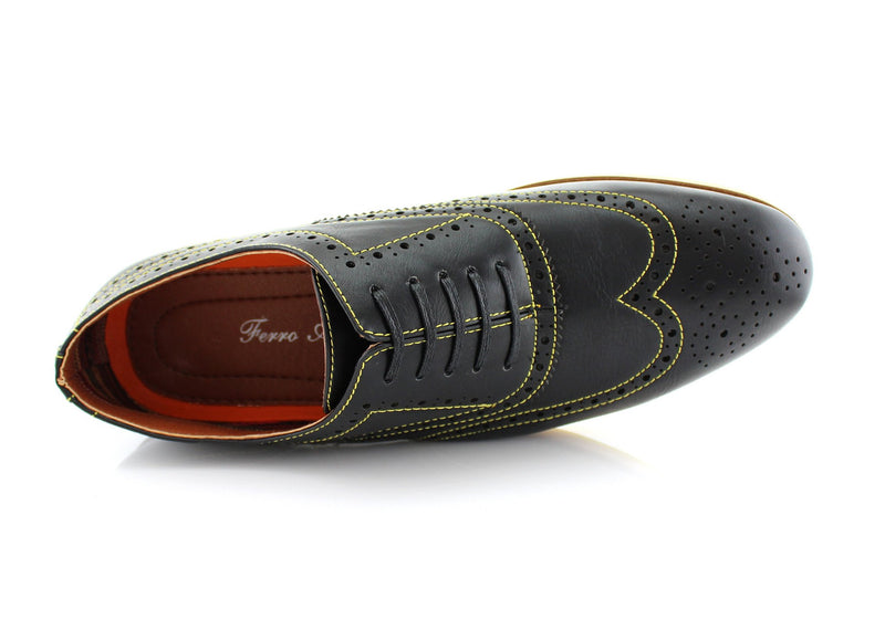 Black Fashion Wingtip Brogues Oxford Sneaker Roger Top View