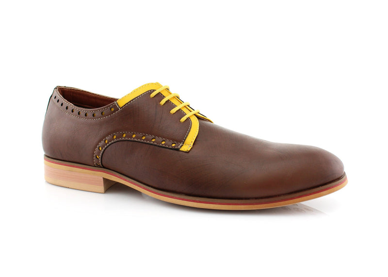 Men's Duty Shoes Plain Derby Men's Casual Shoes Brown/Neon Yellow Side View