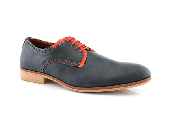 Men's Duty Shoes Plain Derby Men's Casual Shoes Navy/Neon Orange Side View