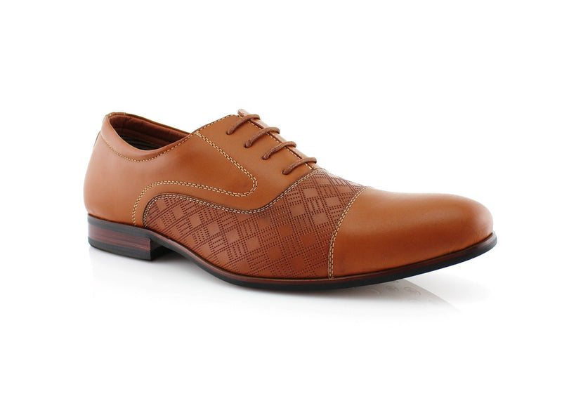 Brown Checkered Embossing Casual Dress Shoes Men's Footwear Front View