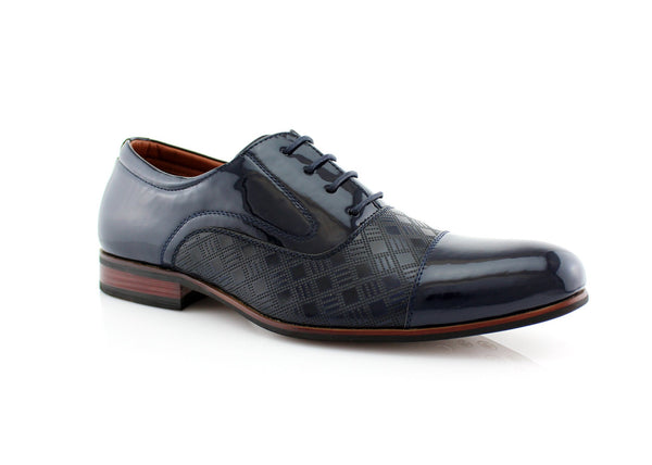Blue Checkered Embossing Casual Dress Shoes Men's Footwear Front View