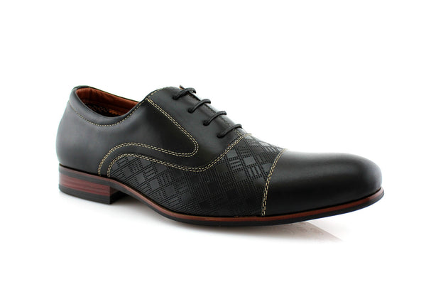 Checkered Embossing Casual Dress Shoes Men's Footwear Side View