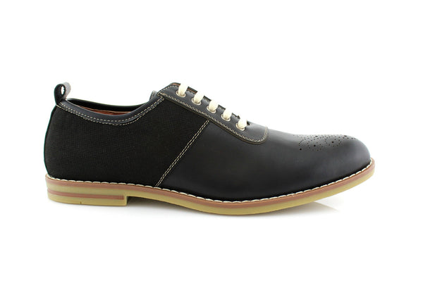 Ferro Aldo Adrian Black Medallion Toe Shoes For Men Side View