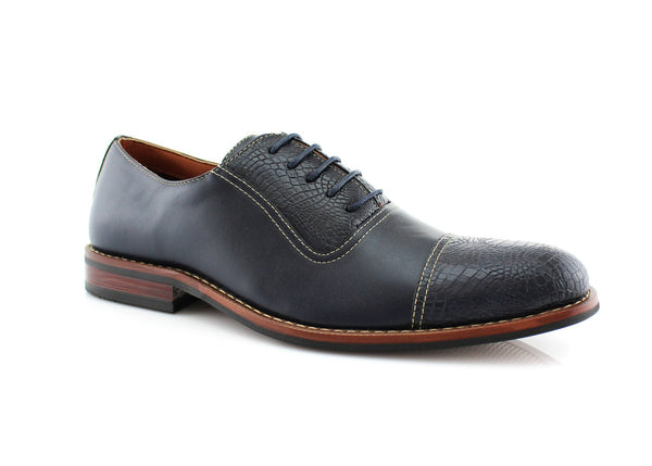 Snakeskin Men's Dress Blue Shoes Sam Oxford Business Shoes Side View