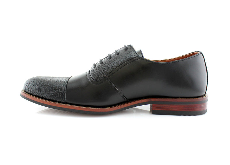 Snakeskin Men's Dress Black Shoes Sam Oxford Business Shoes Side View