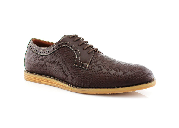 Checkered Leather Shoes Men Dark Brown Side View