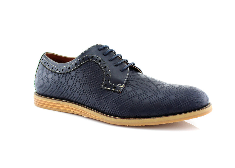 Checkered Leather Shoes Men Blue Side View