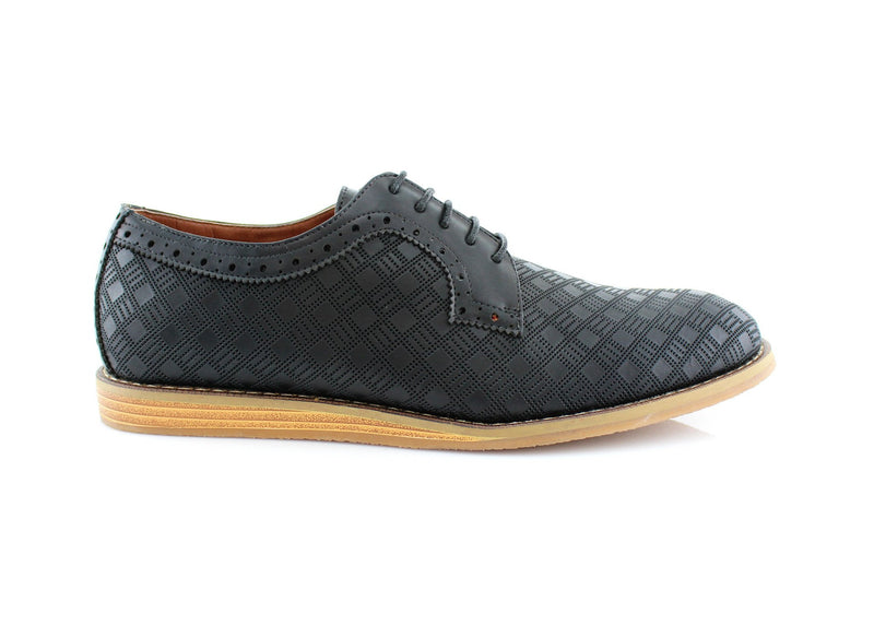 Checkered Leather Shoes Men Black Side View