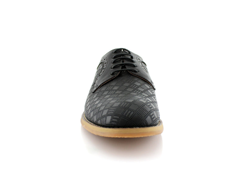 Checkered Leather Shoes Men Black Front View