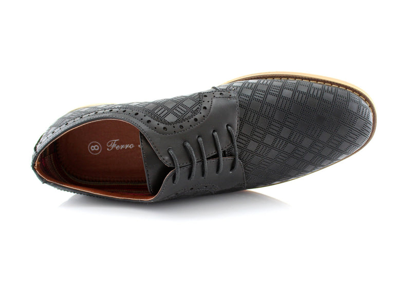 Checkered Leather Shoes Men Black Top View