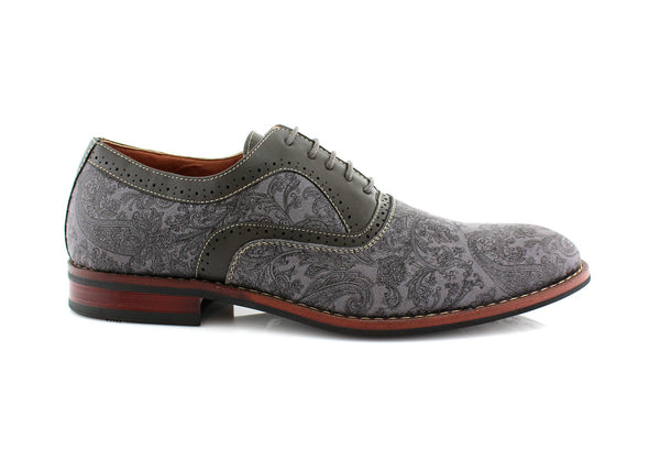 Gray Paisley Pattern Men's Dress Shoes by Ferro Aldo Side View