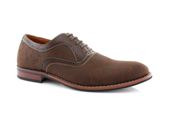 Brown Paisley Pattern Men's Dress Shoes by Ferro Aldo Side View