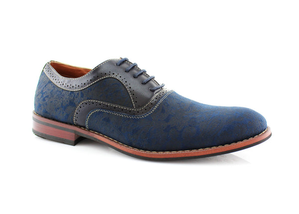 Blue Paisley Pattern Men's Dress Shoes by Ferro Aldo Side View