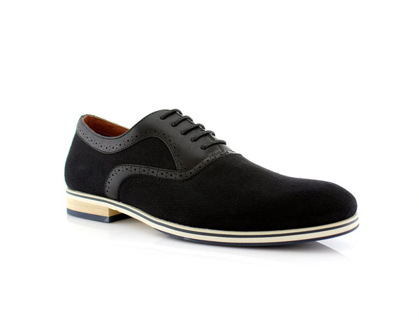 Black Men's Suede Lace Up Casual Shoes Side View