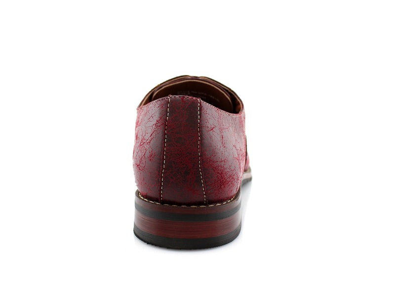 Marble Print Dress Shoes Ferro Aldo Men's Vintage Style Red Shoes Bacl