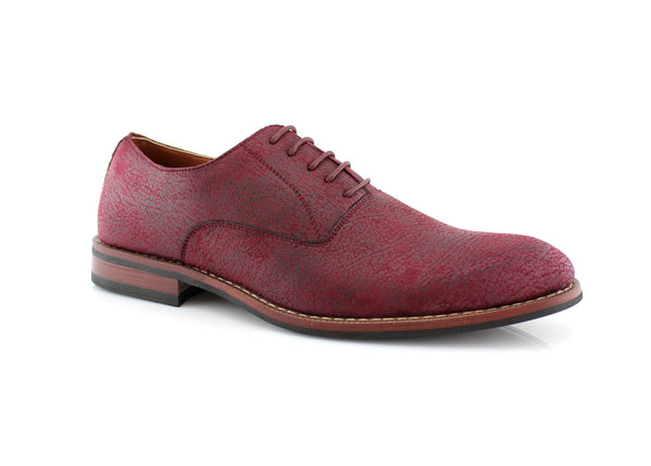 Red Vintage Distressed Texture Dress Shoes Side View