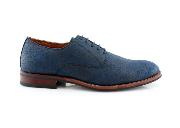 Blue Vintage Distressed Texture Dress Shoes Side View