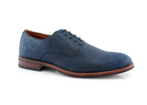 Blue Vintage Distressed Texture Dress Shoes by Conal Footwear