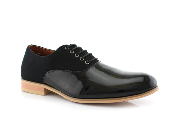 Gloss PU Leather Splice Suede Men's Casual Shoes in Black