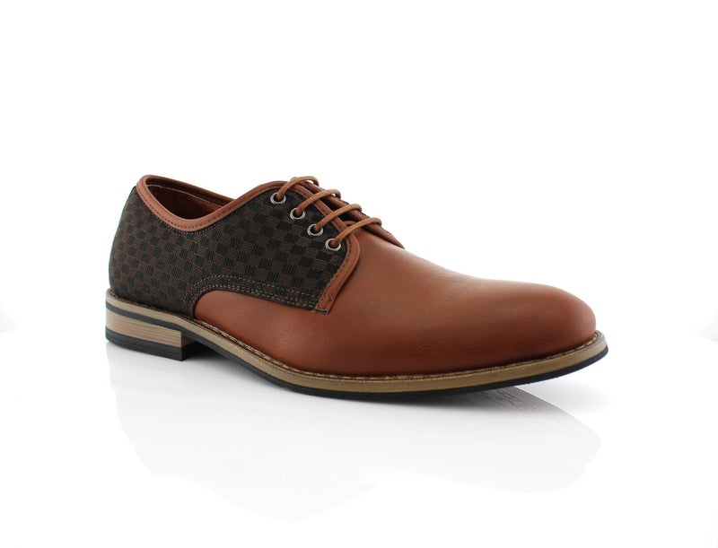 Brown Checkered Embossed Faux Leather Work Daily Shoes Side View