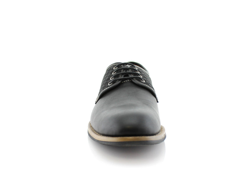 Checkered Embossed Faux Leather Work Daily Shoes Front View