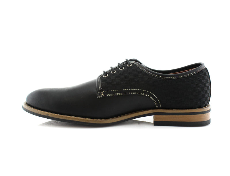 Checkered Embossed Faux Leather Work Daily Shoes Side View