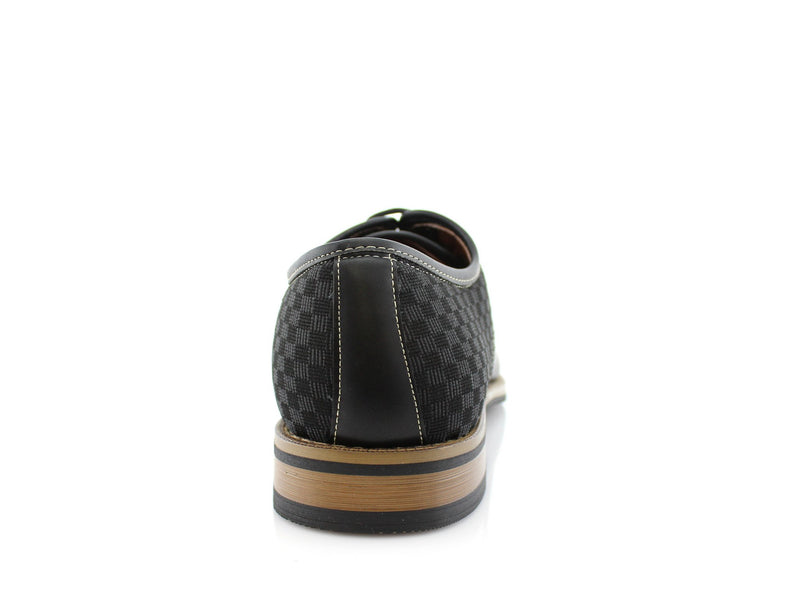 Checkered Embossed Faux Leather Work Daily Shoes Back View