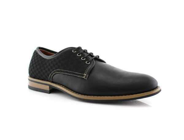 Checkered Embossed Faux Leather Work Daily Shoes