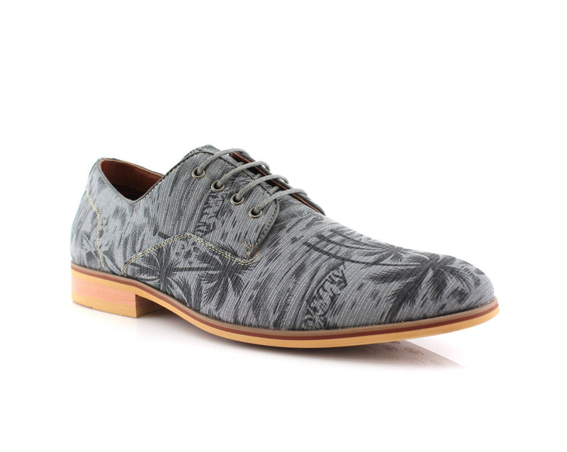 Gray Palm Tree Print Men's Summer Dress Shoes Holiday Vacation On the Beach