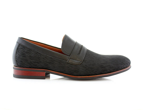 Special Event Black Men's Almond Toe Slip on Shoes Oso Side View