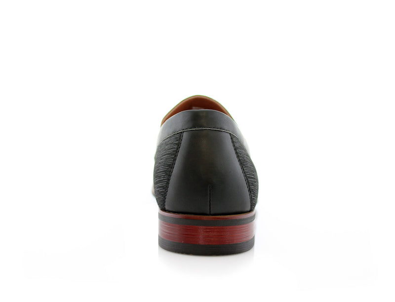 Special Event Black Men's Almond Toe Slip on Shoes Oso Back View