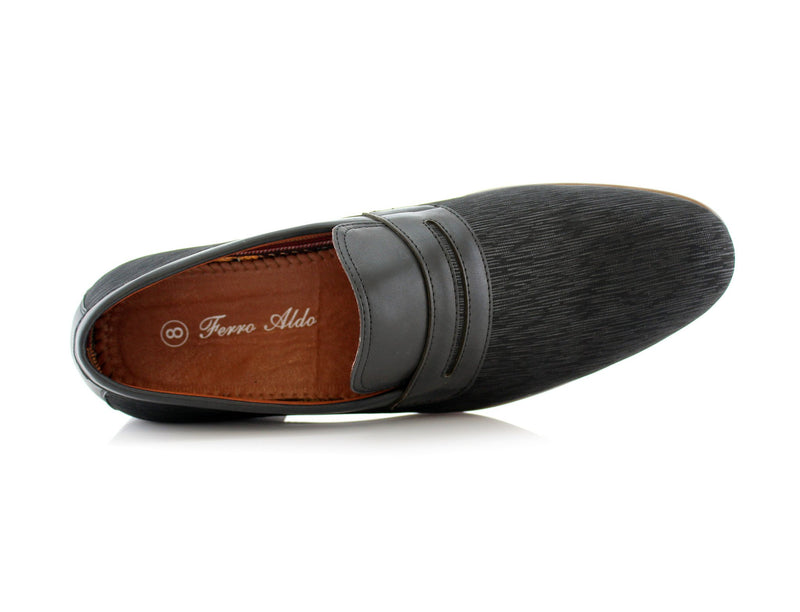 Special Event Black Men's Almond Toe Slip on Shoes Oso Top View