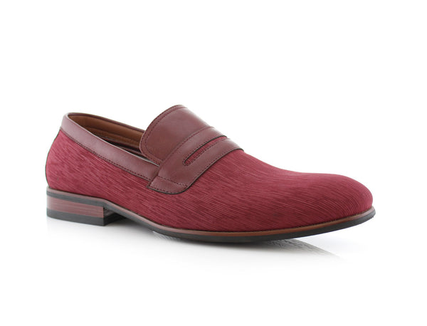 Special Event Red Men's Almond Toe Slip on Shoes Oso Side View