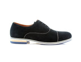 Blue Cap Toe Suede Oxford Shoes Bernie Side View