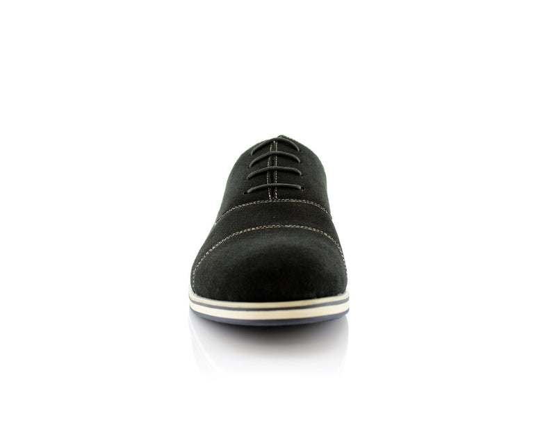 Black Cap Toe Suede Oxford Shoes Bernie Front View