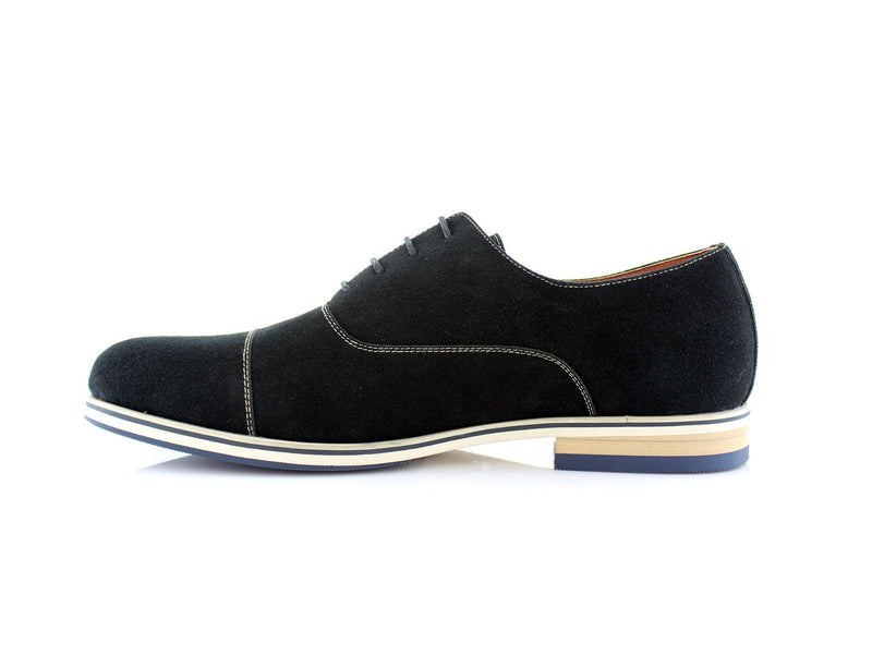 Black Cap Toe Suede Oxford Shoes Bernie Side View