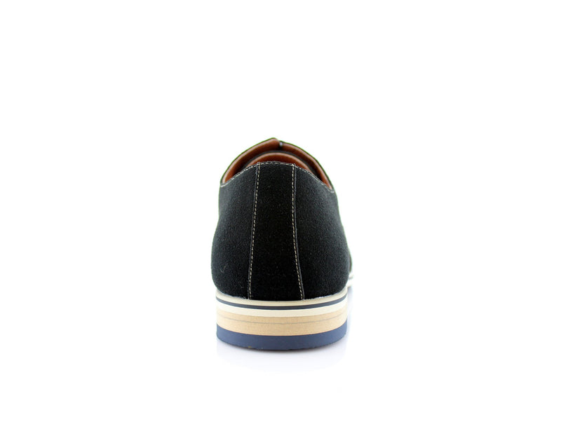 Black Cap Toe Suede Oxford Shoes Bernie Back View