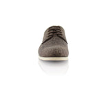 Brown Linen Blended Plain Toe Derby Shoes Nash Front View