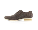 Brown Linen Blended Plain Toe Derby Shoes Nash Side View