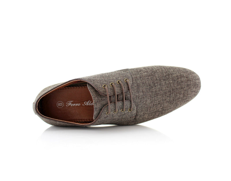 Brown Linen Blended Plain Toe Derby Shoes Nash Top View