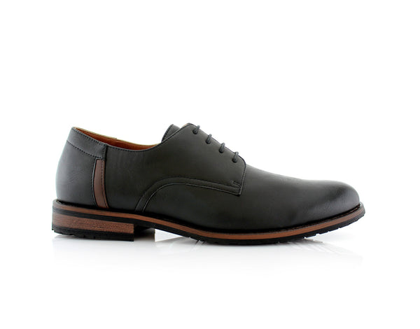 Black Plain Outfit Pop Ronnie Smoky Faux Leather Men's Shoes Side View
