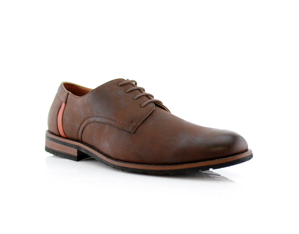 Brown Plain Outfit Pop Ronnie Smoky Faux Leather Men's Shoes Side View